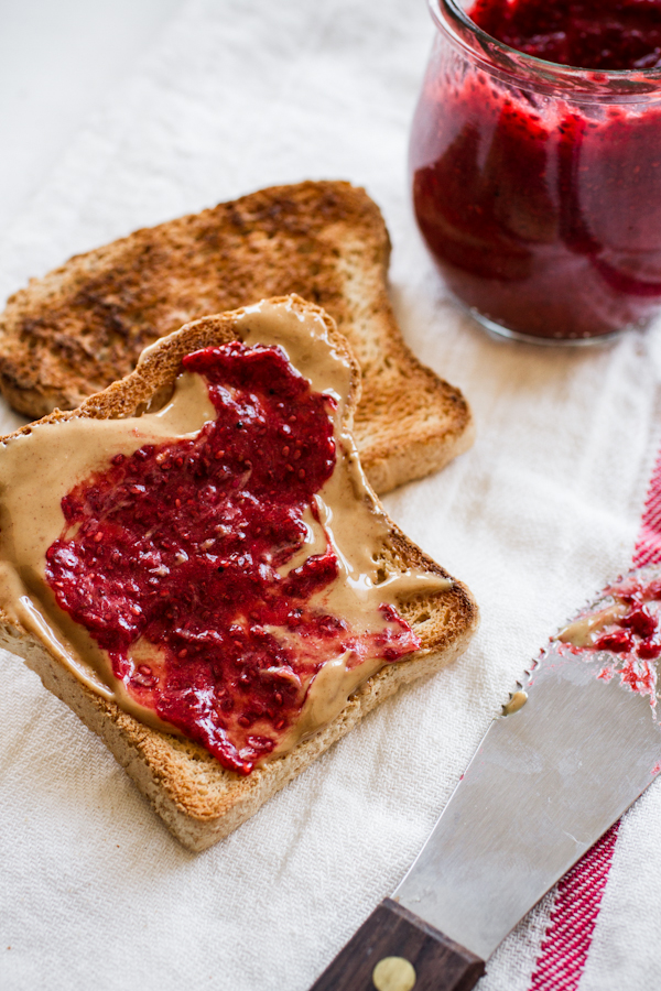 Peanut Butter Toast with Homemade Strawberry Jam