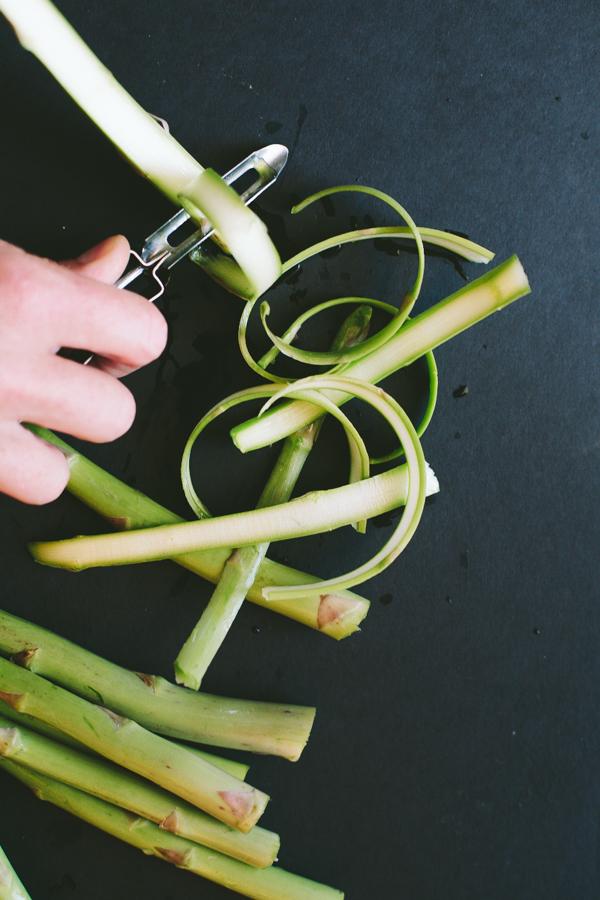 Peeling Raw Asparagus