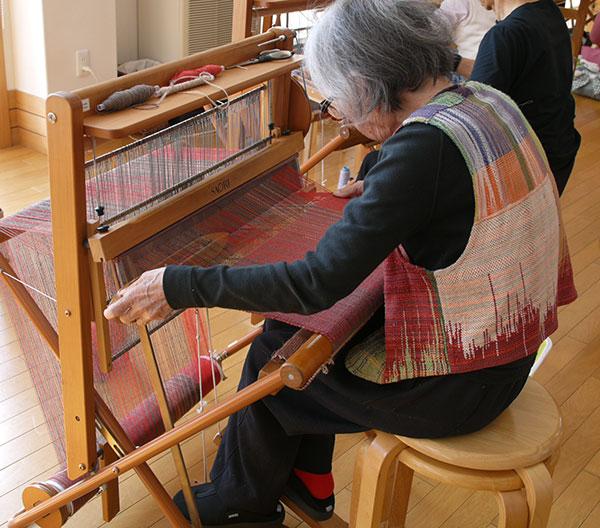 Misao Jo Weaving on Her Loom in Japan