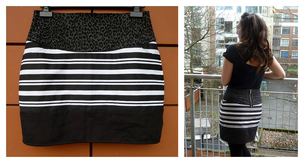 Hand-sewn striped black and white skirt on Craftsy!
