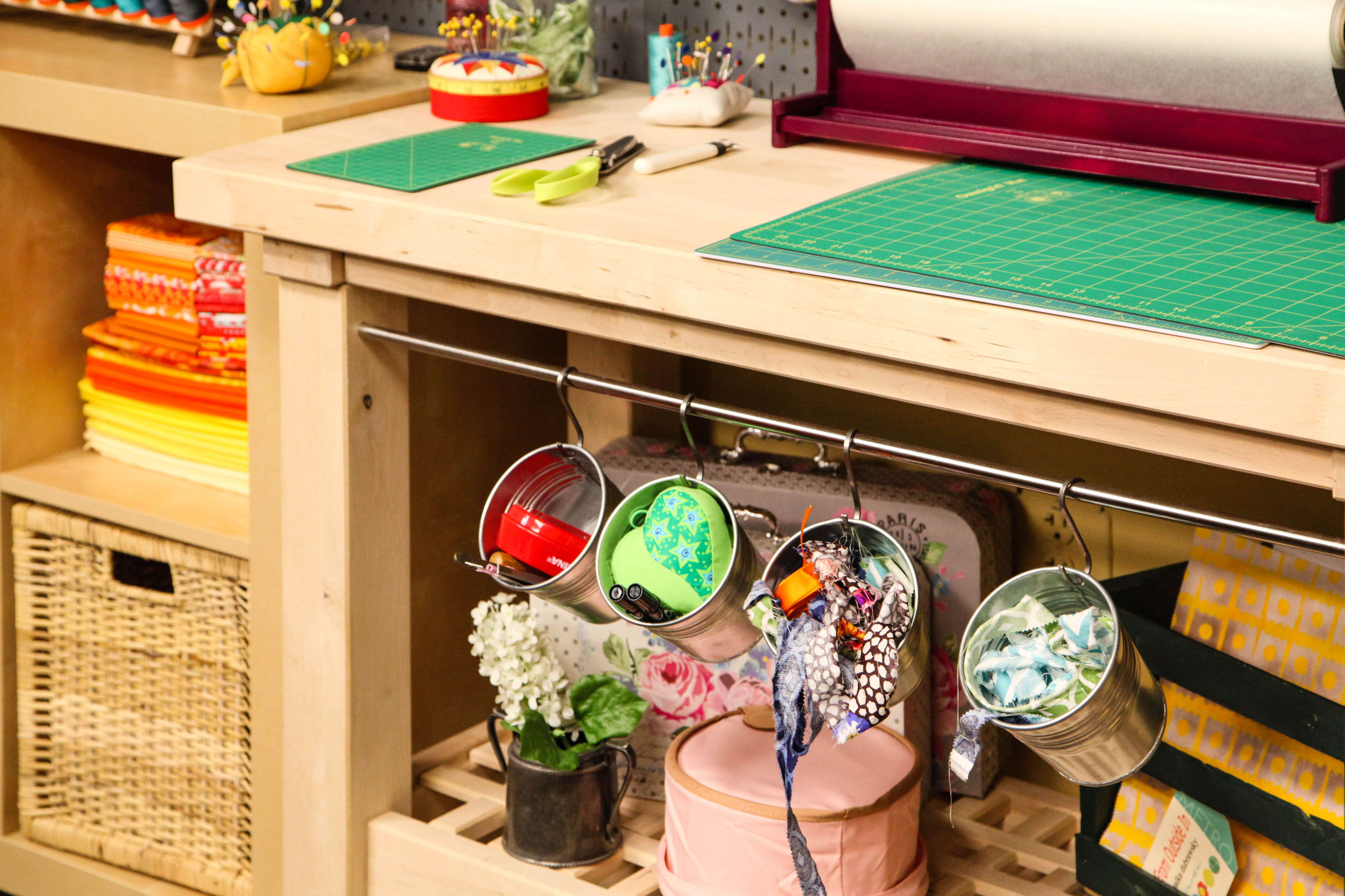 Stored Supplies in the Bluprint Quilting Studio