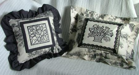 Black, white & gray cutwork embroidered pillows