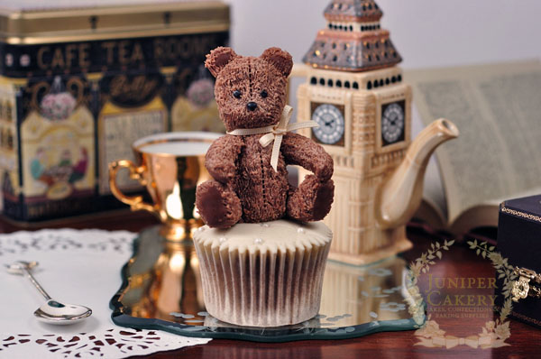 Lovely antique teddy bear cupcake topper from modeling chocolate