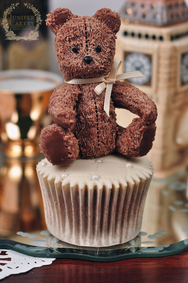 Teddy bear from modeling chocolate for cakes and cupcakes