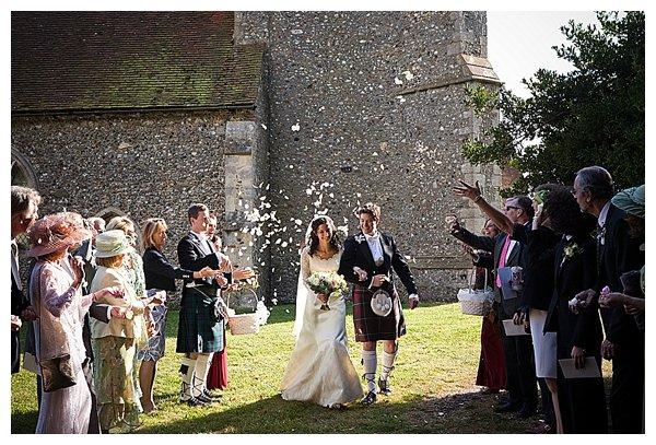 British couple leaving wedding
