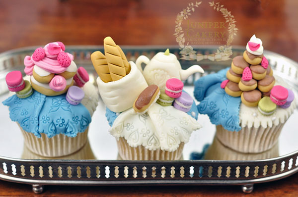 Parisian bread and pastry themed cupcakes by Juniper Cakery