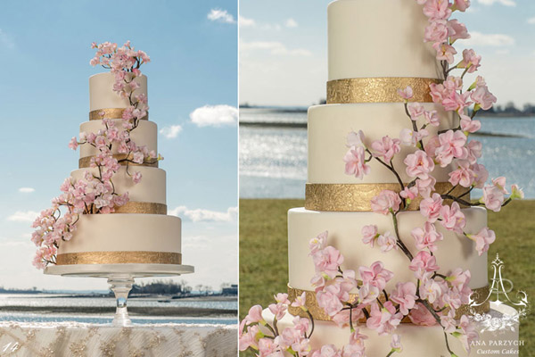 Cherry blossom and gold band wedding cake by Ana Parzych