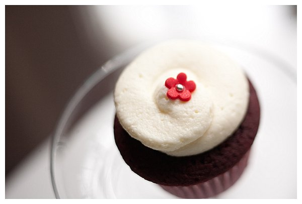 Red velvet cupcake with flower decoration
