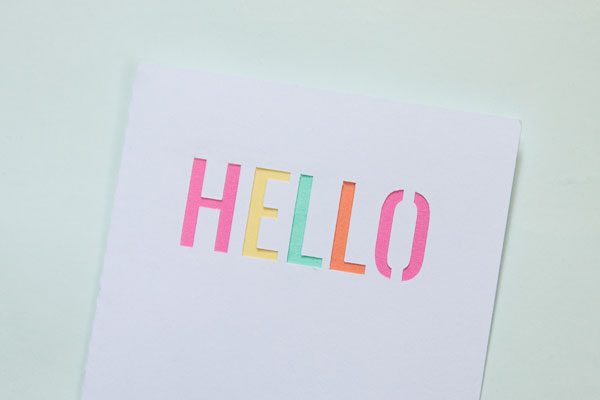 Die Cut Hello Card