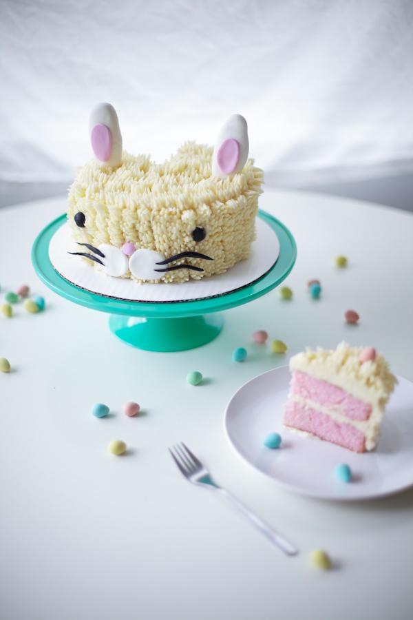 Adorable Easter Bunny Cake with Pink Layers on Bluprint!