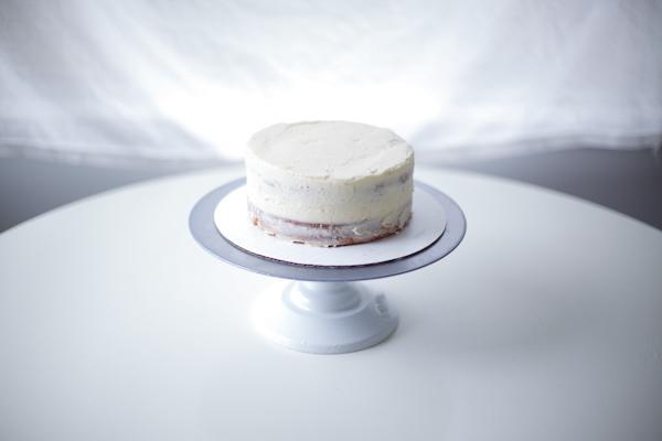 Crumb Coat on Layer Cake