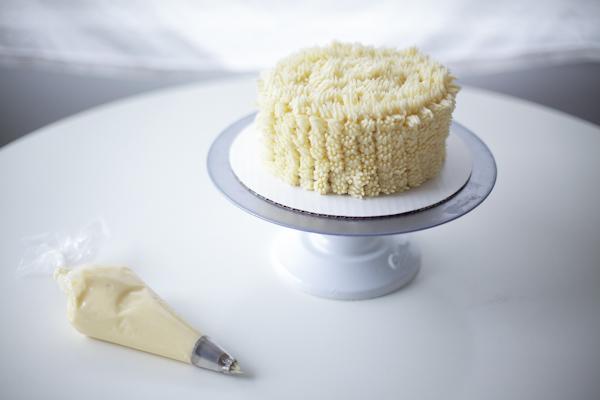 "Cake covered in buttercream ""fur"""
