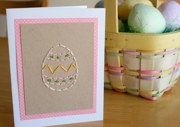 Hand-Stitched Easter Card