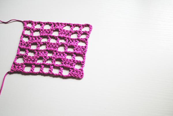 Complete Filet crochet swatch