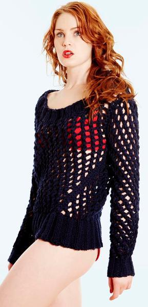 Woman Wearing a Black Mesh Sweater