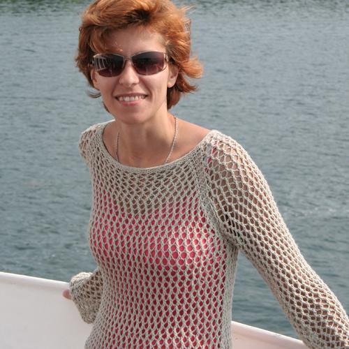 Woman Wearing a Mesh Tunic