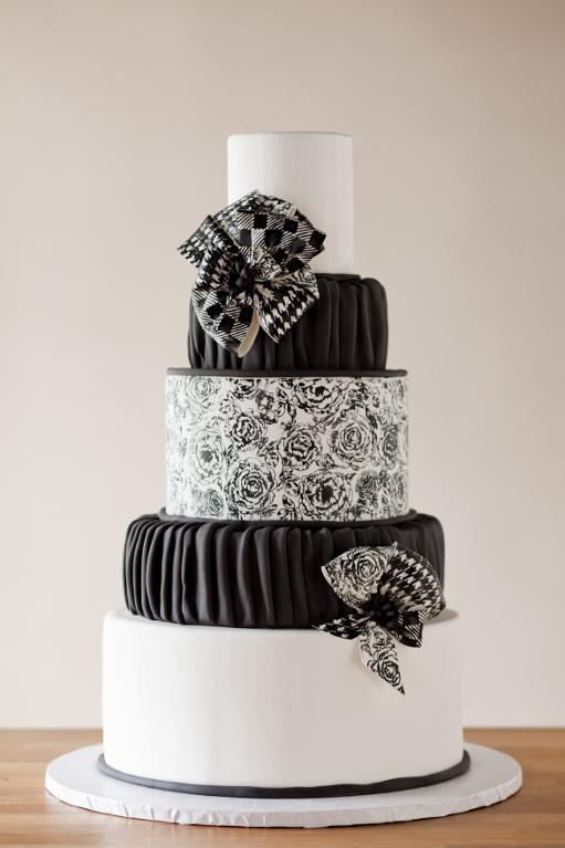 Black and white stamped cake by Erin Gardner