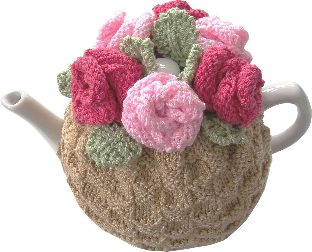 Knitted Tea Rose Cozy - Bluprint.com Member Pattern