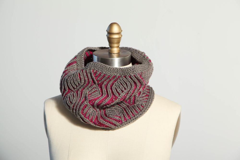 Knit brioche vine cowl