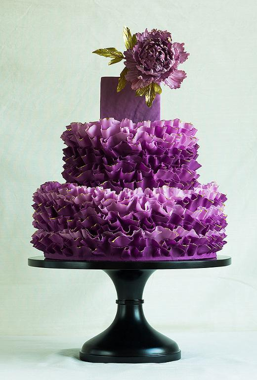 Purple ruffle cake with peony by ModernLovers