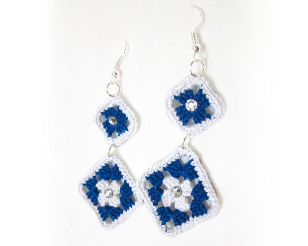 Granny square dangle crochet earrings