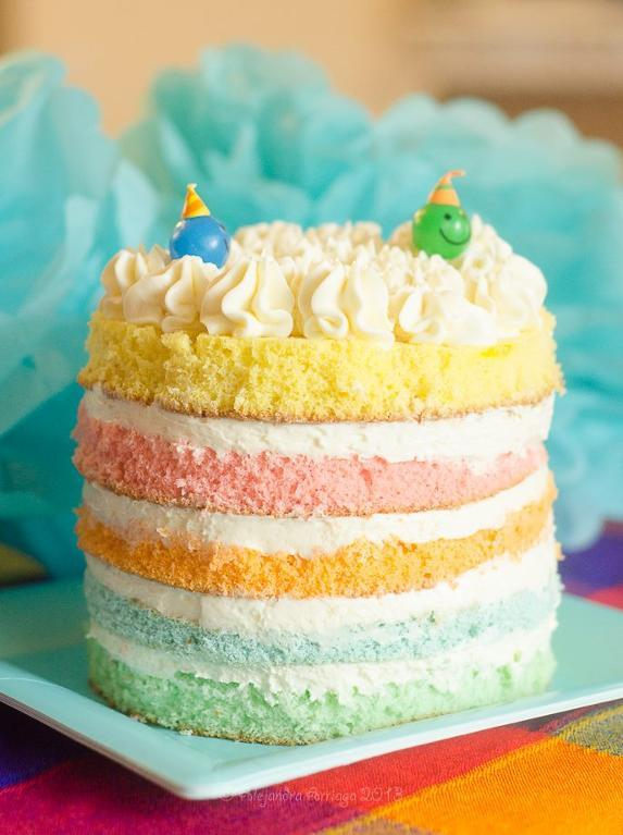 Rainbow Colored Birthday Layer Cake