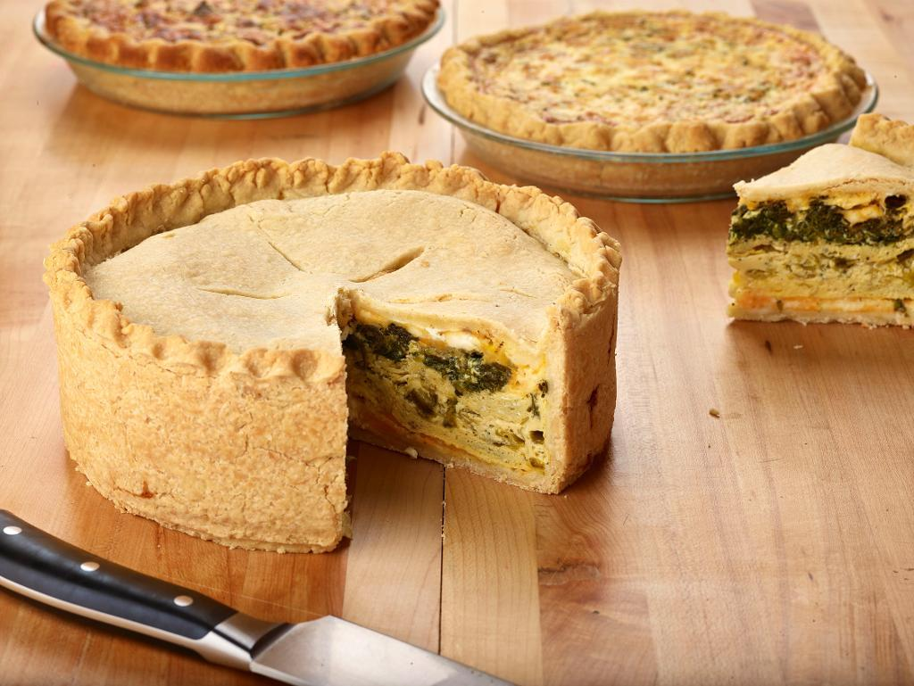Leek, spinach and green chile torta