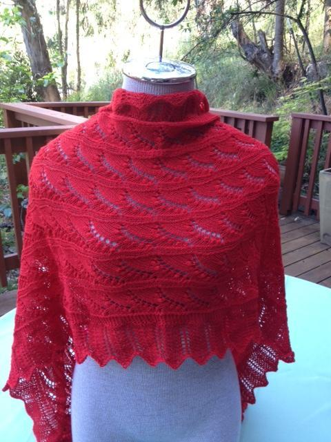 Knit lily of the valley lace shawl