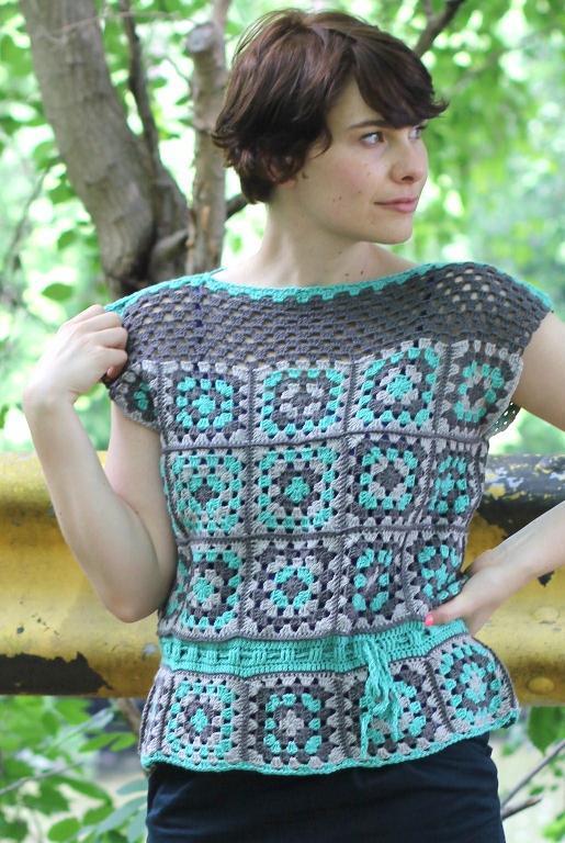 Cute girl crochet squares tank