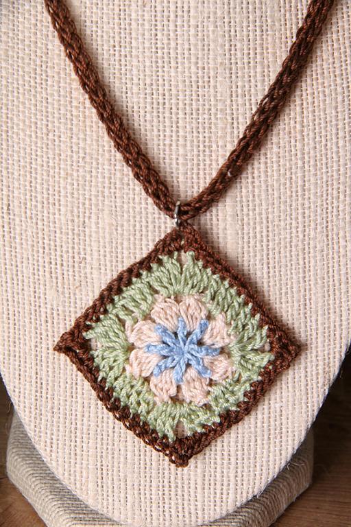Granny square flower crochet pendant