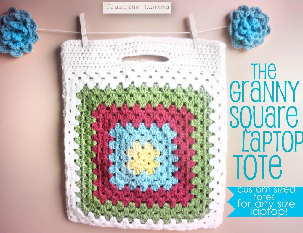 Granny square crochet laptop bag