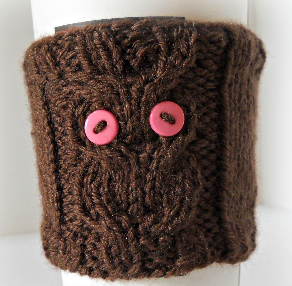 Knitted owl coffee cup cozy