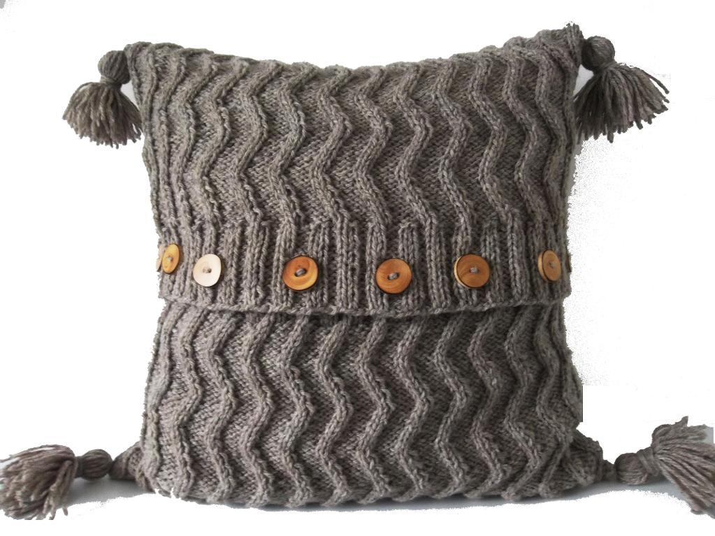 Aran zig zag knit cushion pillow