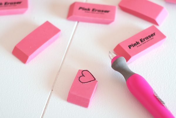 School Erasers and an X-Acto Knife
