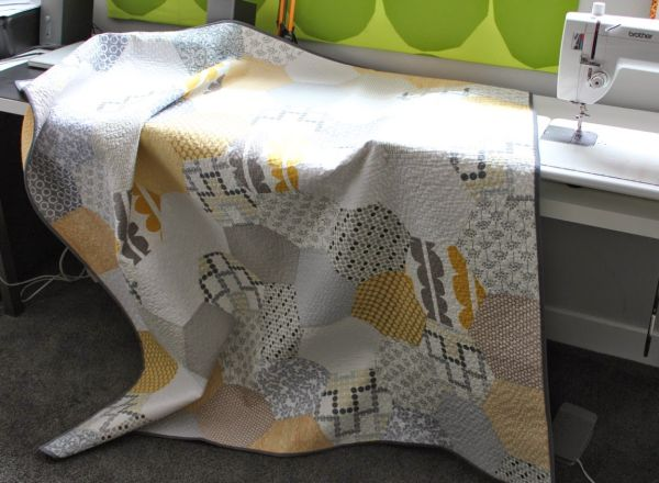 yellow and grey patchwork modern quilt