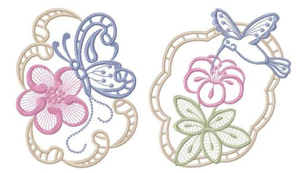 Multiple color cutwork of butterfly, hummingbird & flower