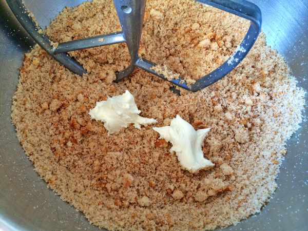 Cake Dough Crumbled in a Stand Mixer