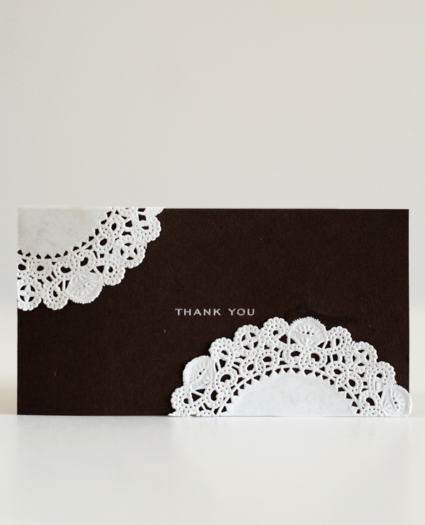 paper lace thank you card