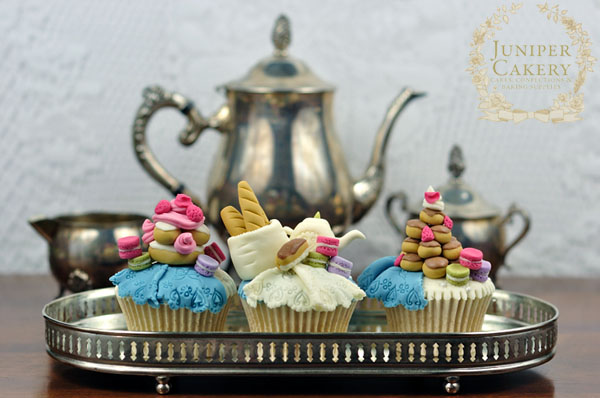 Lovely Parisian themed cupcake toppers