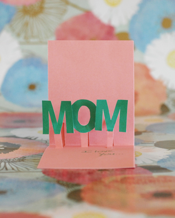 """Pop Out Mother's Day Card with the word """"Mom"""" Popping Out"""