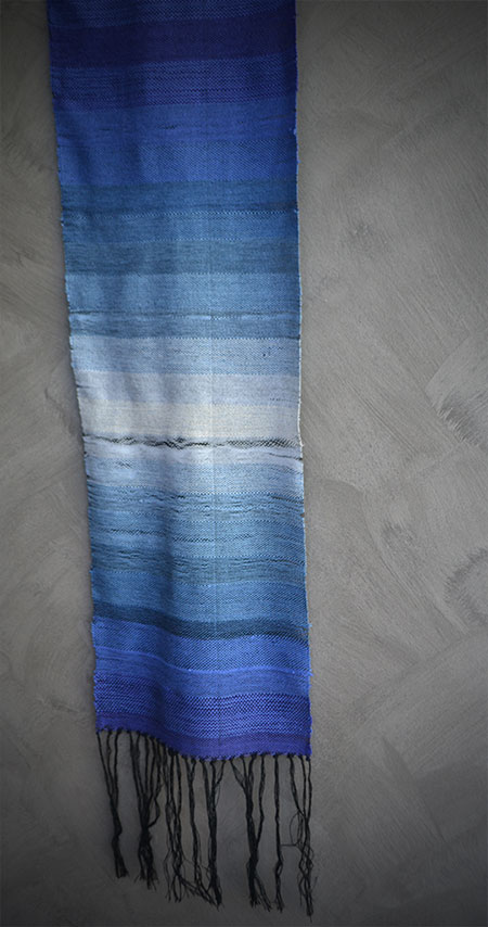 Woven textile using ombre shaded colors