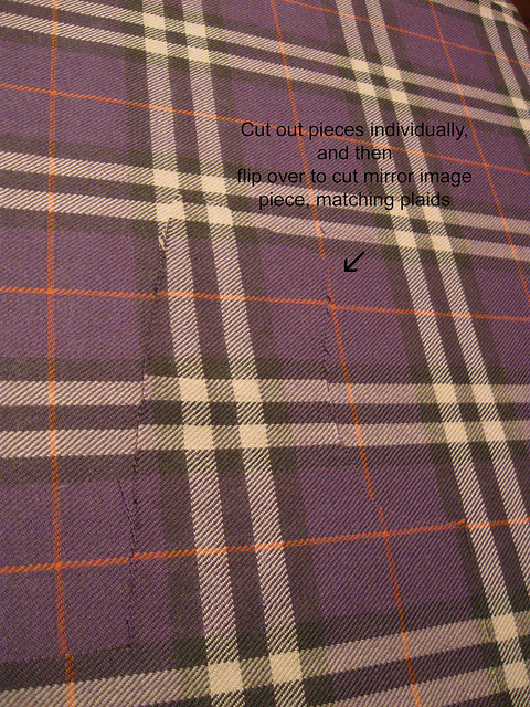 Cutting plaid in a single layer for matching