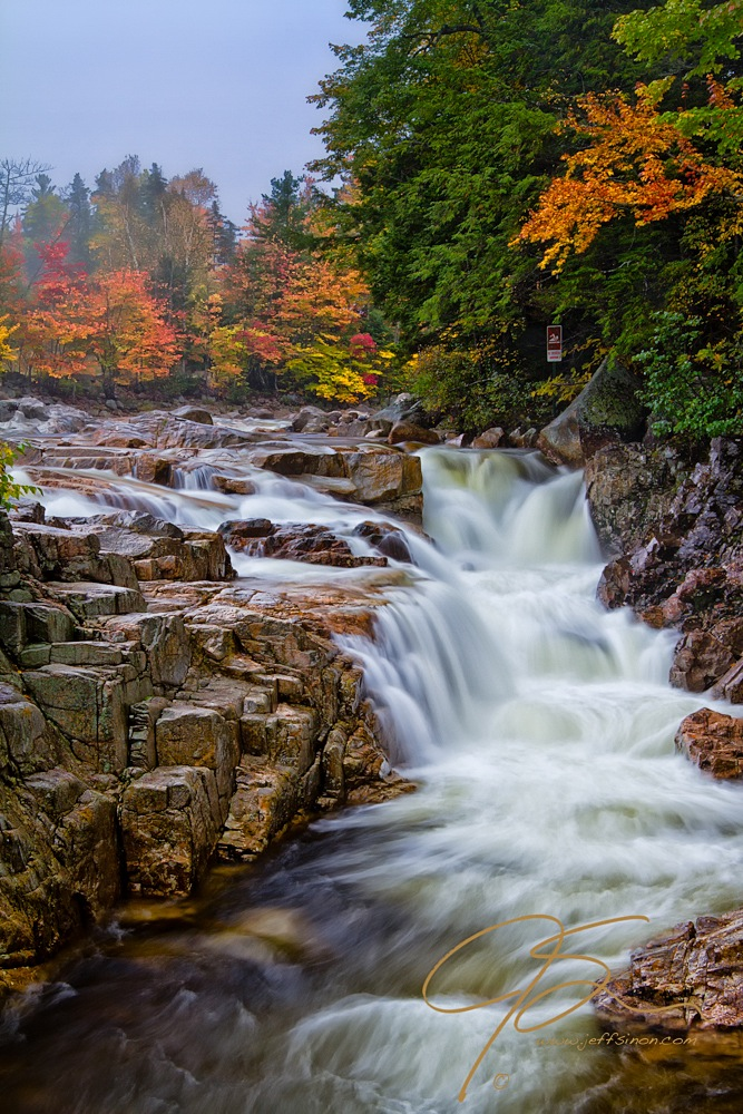 Rocky Gorge along New Hampshire's Kancamagus Highway in the rain