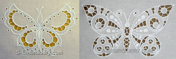 white embroidered cutwork butterflies