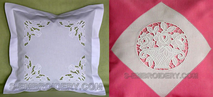 White cutwork overlay in white and pink for pillows and decor
