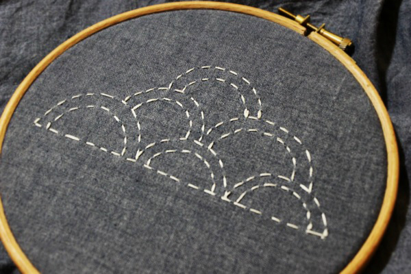 Sashiko Clouds Embroidery Design