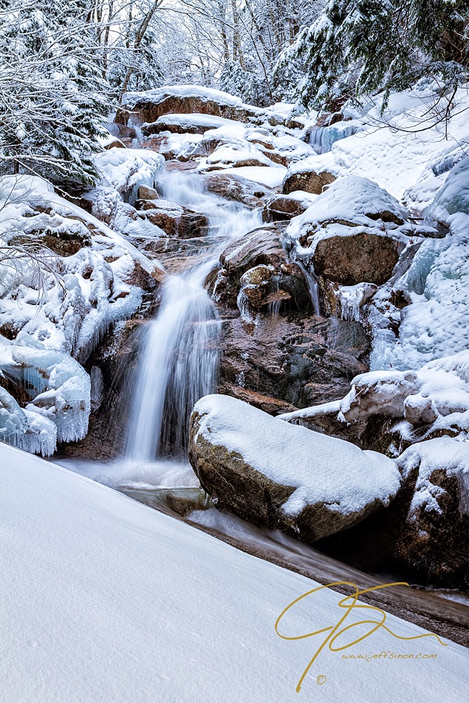 Winter Landscape: Snow and Waterfall