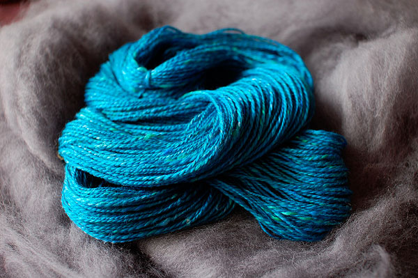 Teal and Gray Spinning Fiber