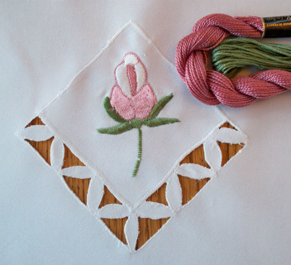 Pink Embroidered Rose Bud : Embroidery Thread Resources