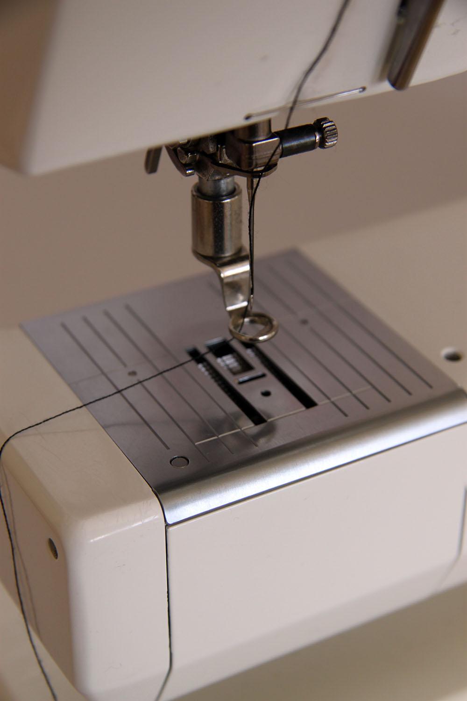 Close up of darning foot on Bernina sewing machine